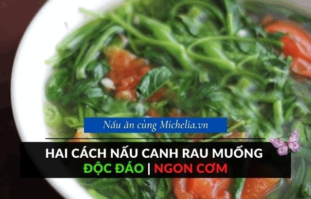 Nấu canh rau muống cà chua