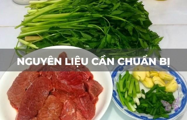 cách xào thịt bò với rau cần ta